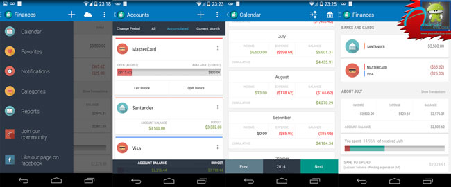 Personal Finances android app screenshots
