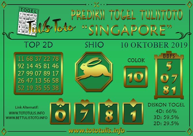 Prediksi Togel SINGAPORE TULISTOTO 10 OKTOBER 2019