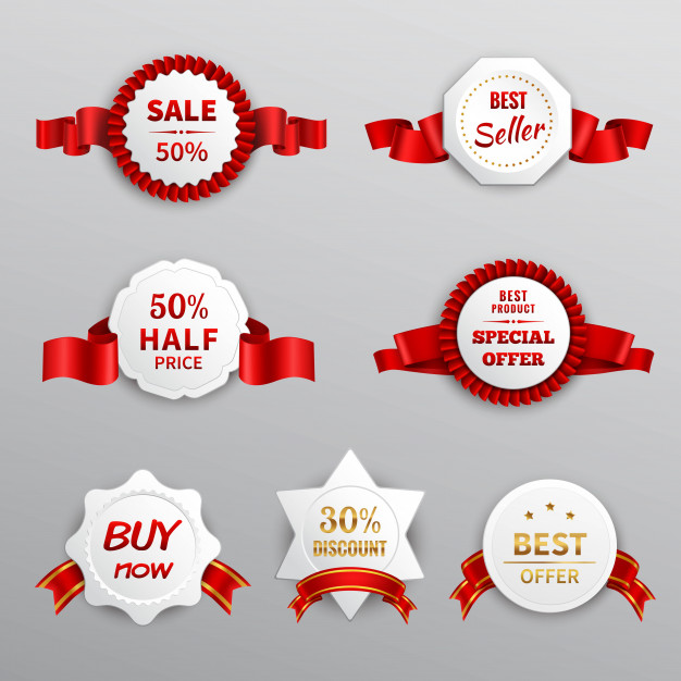 Red paper sale labels Free Vector