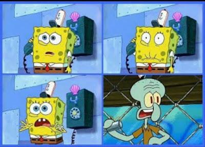 Kumpulan gambar Polosan Meme Spongebob - Pengumuman oleh Squidward