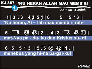 Lirik dan Not Kidung Jemaat 387 'Ku Heran, Allah Mau Memb'ri
