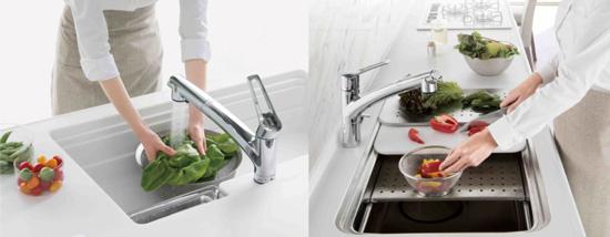 TAKARA一體成型不鏽鋼機能3D水槽,同時搞定洗菜切菜。