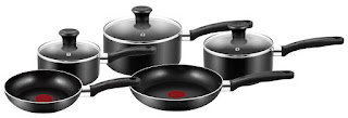 OFFER Pot & Pan Sets! Tefal A157S546 Essential Cookware Set – Black, 5 Pieces £40.88
