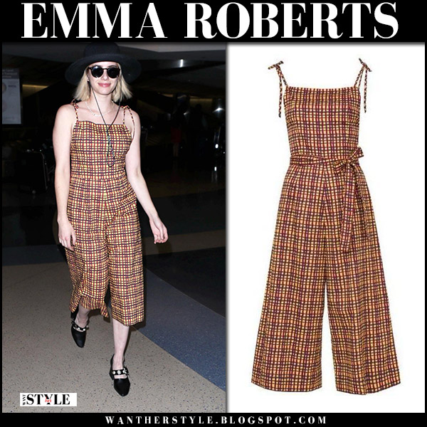 Emma Roberts in brown mustard printed jumpsuit lhd airport celebrity style december 14