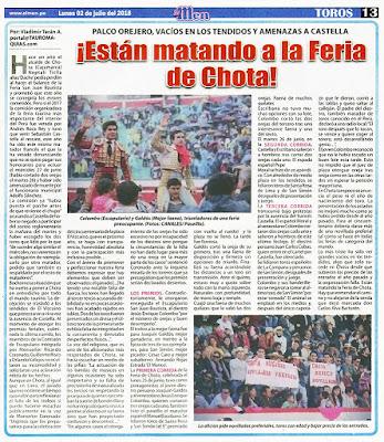 Diario El men, Lima, Peru Lunes 2018-07-02 Pagina Taurina