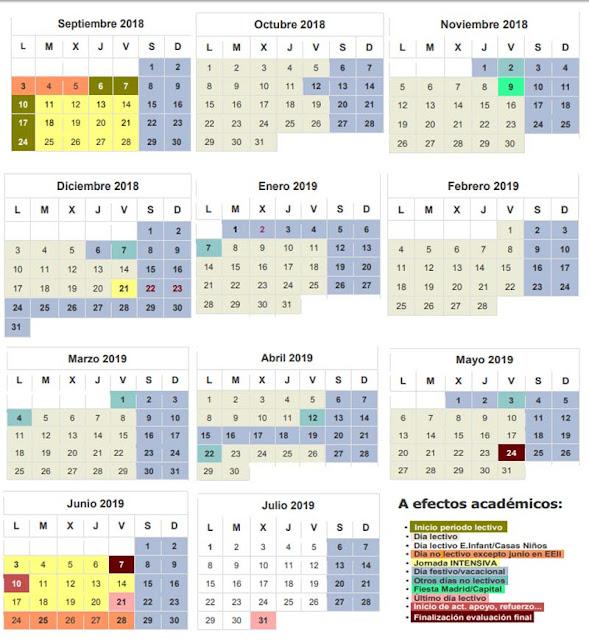 calendario escolar de las escuelas infantiles en Madrid
