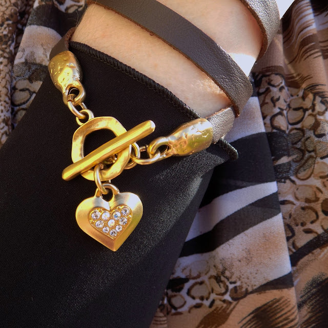 What LIzzy Loves wears Danon Jewellery leather wrap bracelet with gold swarovski crystal heart https://www.whatlizzyloves.com/shop/