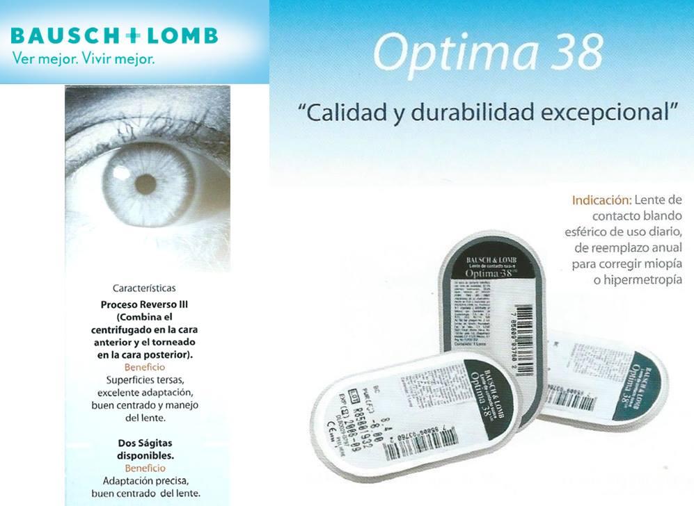 33701cbf19ddf Lentes de Contacto Blandos Anuales   OPTIMA - 38   Bausch + Lomb ...