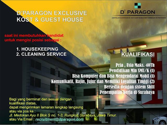 lowongan kerja housekeeping dparagon kost dan guest house