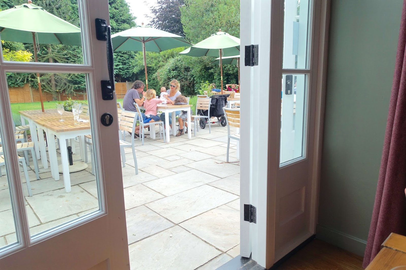 Outdoor seating area at the Barley Mow
