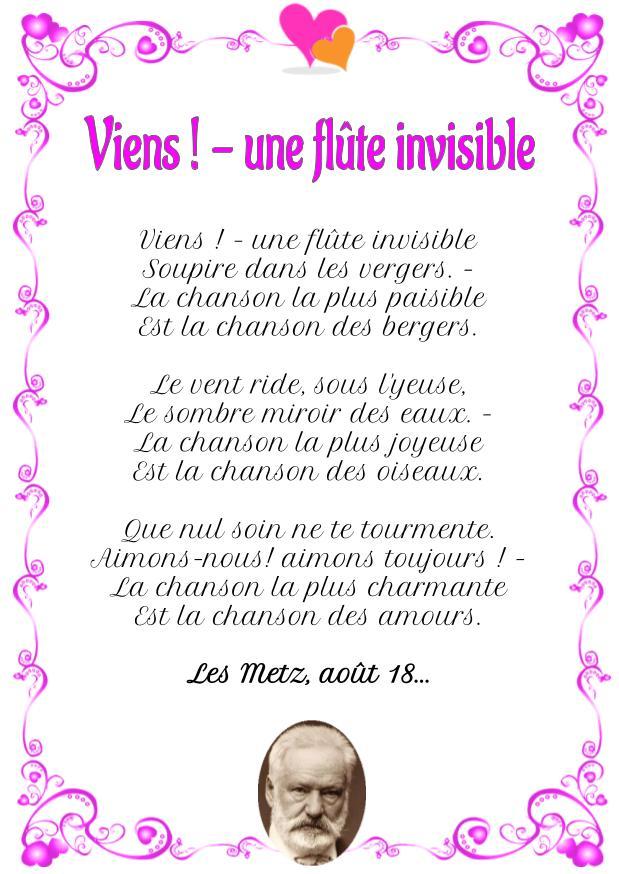 Poème : Viens ! - une flûte invisible de Victor Hugo