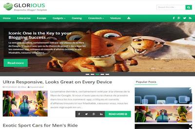 Glorius - скачать бесплатно шаблон для blogger blogspot