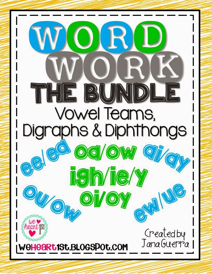 http://www.teacherspayteachers.com/Product/Word-Work-BUNDLE-Vowel-Teams-Digraphs-Diphthongs-1234122