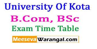 University Of Kota B.Com, BSc 2017 Exam Time Table