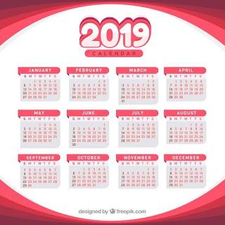 Calendario para 2019 en diseño plano Vector Gratis