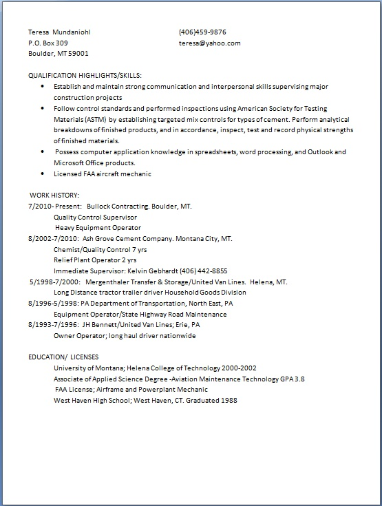 quality control supervisor sample resume format in word