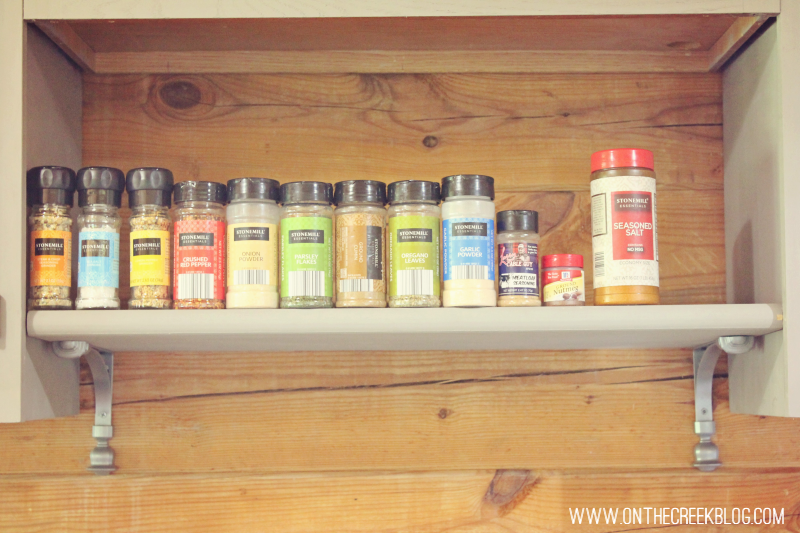 A DIY spice rack made from a stair tread!