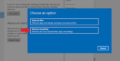 A popup Window will appear select Remove Everything