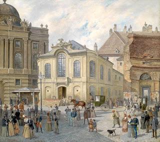 Antiguo Burgtheater en el siglo XIX, por August Gerasch (Viena 1822-1908).
