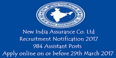 NEW India Assurance Recruitment 2017 for 984 Assistants