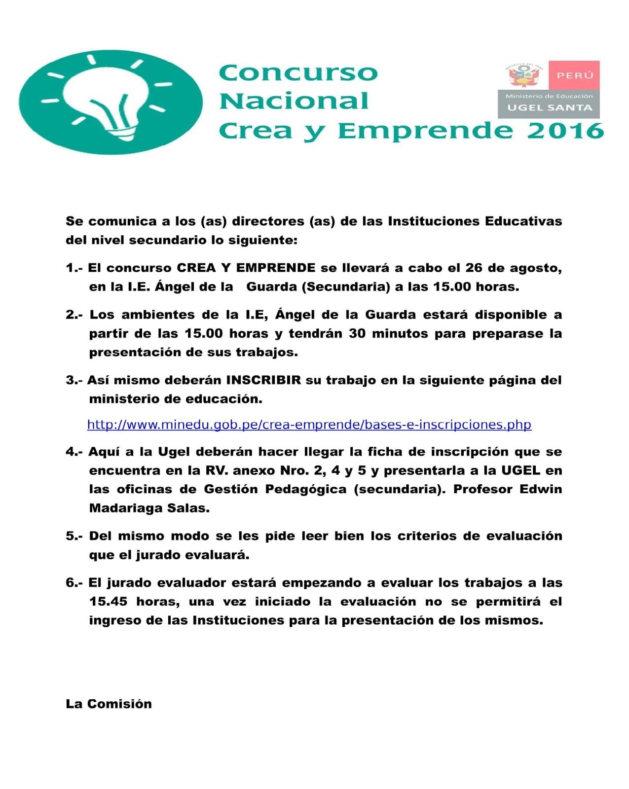 Concurso nacional crea y emprende noticias m s for Concurso meritos docentes 2016