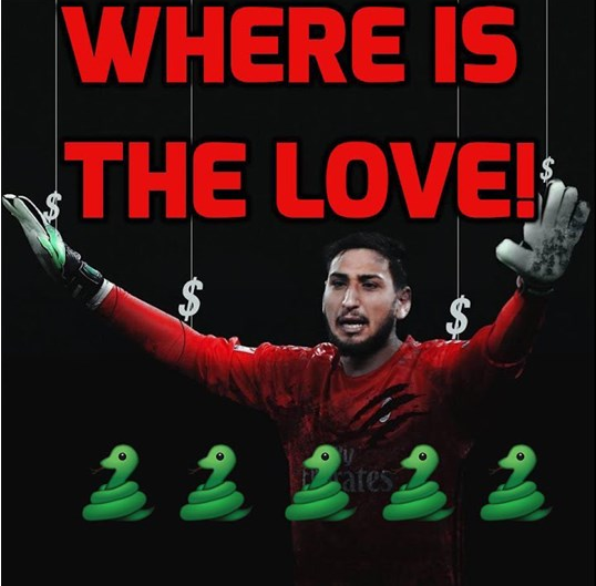 Donnarumma đang bị chỉ trích là tham tiền phụ bạc khi không gia hạn hợp đồng với Milan