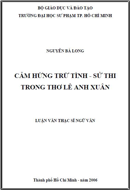 Cảm hứng trữ tình - sử thi trong thơ Lê Anh Xuân