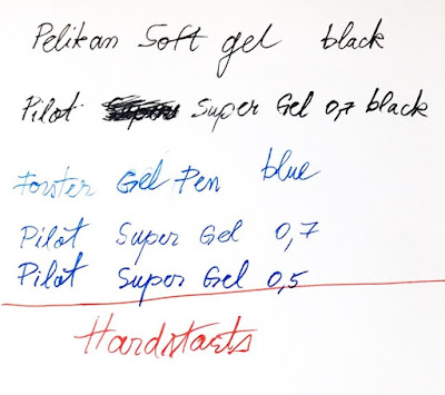 writing with gel pen Pelikan Pilot Forster