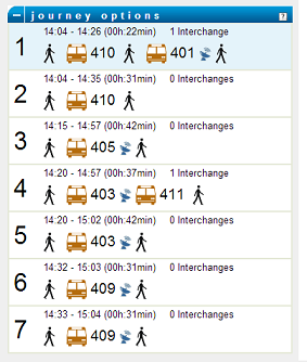 example of route options shown in Ireland's national journey planner for Galway City - shows icons for bus and walking journeys