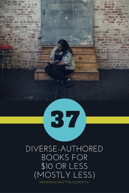 A vertical banner featuring a photo of a young black woman seated on some indoor steps as she writes in a notebook. The caption below reads 37 Diverse-Authored Books For $10 or less (Mostly Less)