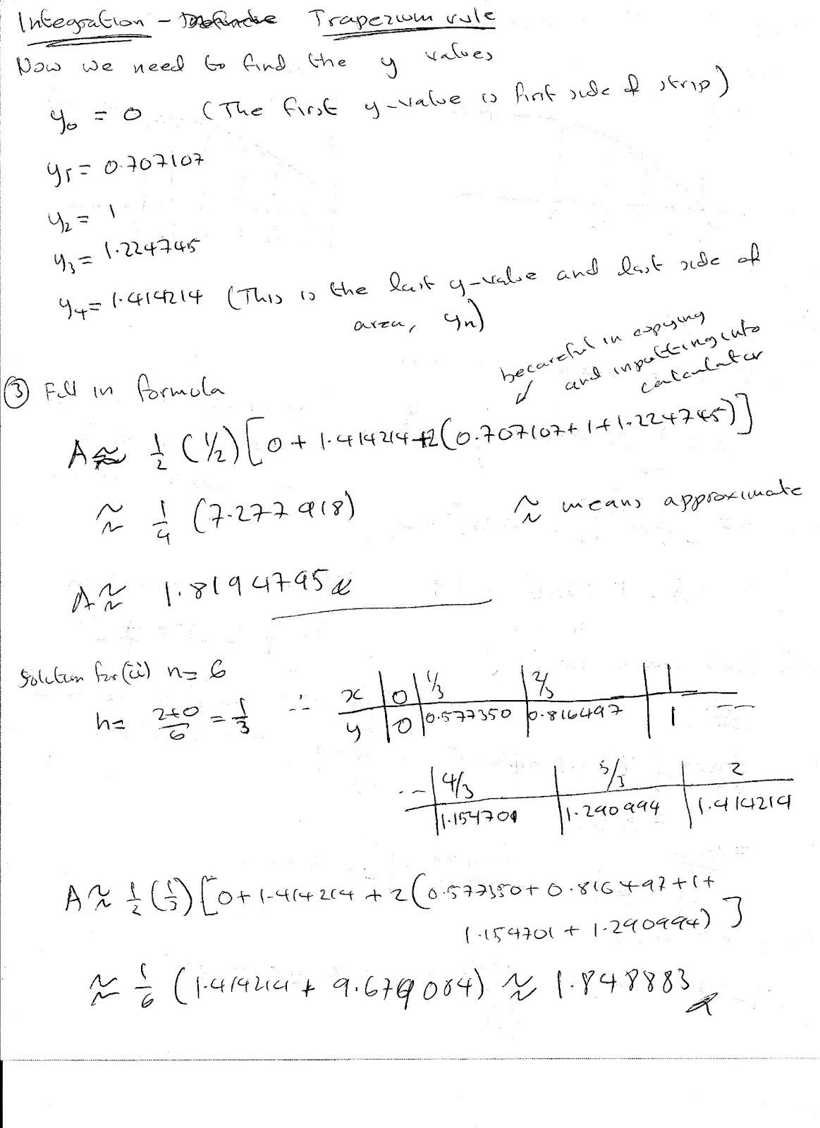 A Level Maths Notes Integration