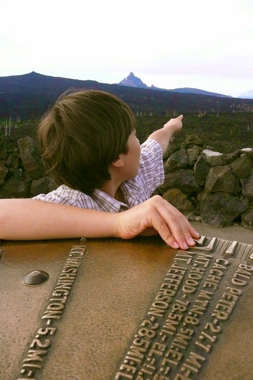 Takeo, Tayo, Takeshi, Anderson Clifford, McKenzie Pass, Oregon,Cascade Range, mountains, volcanoes, big brass marker, compass, lava field, lava flow, boy pointing at volcano mountains