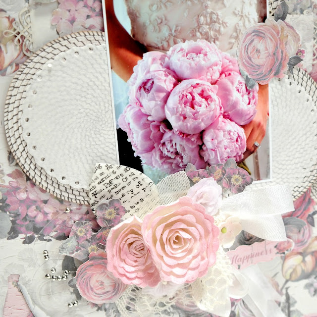 Timeless Memories Pink Wedding Layout Bridal Bouquet Closeup by Dana Tatar for FabScraps