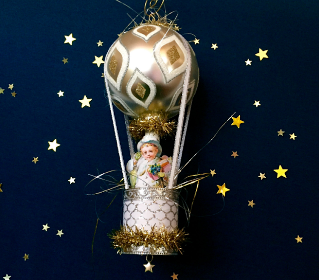 Victorian ornaments, Vintage Christmas Ornament, Victorian Angel Ornament, Handmade Christmas Ornament, Unique Ornaments, Hot air balloon Sparkle Deluxe Laurie Horner