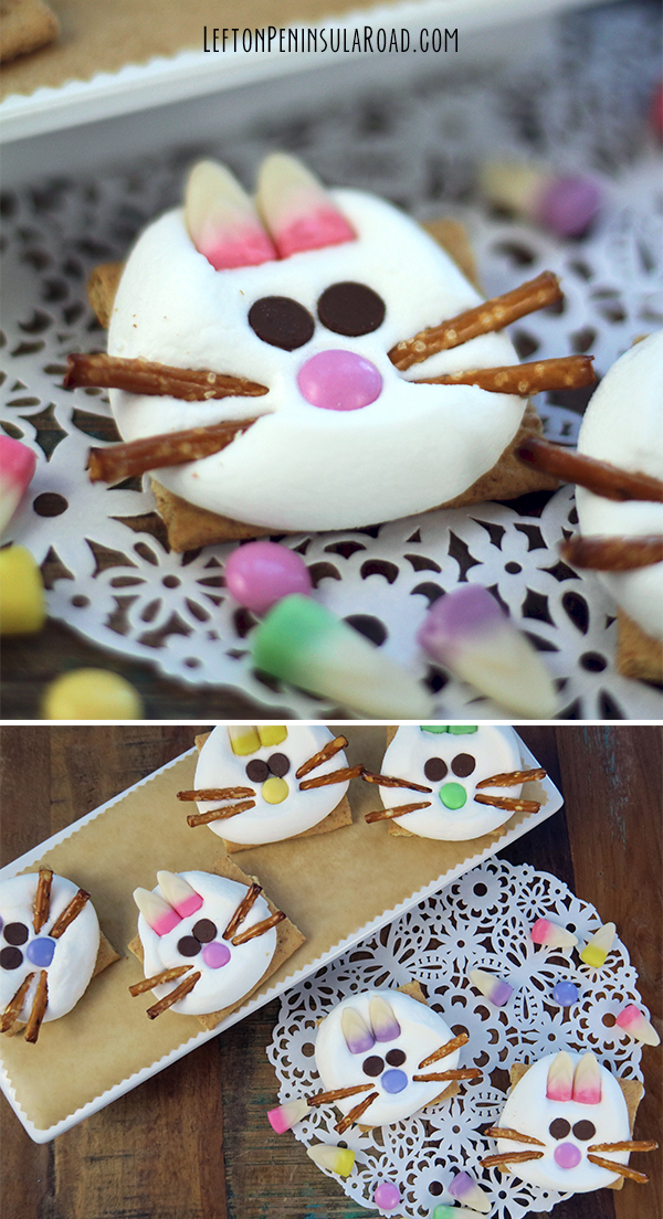 Easter Bunny S'mores with Pretzel Whiskers and Easter Candy Corn Ears