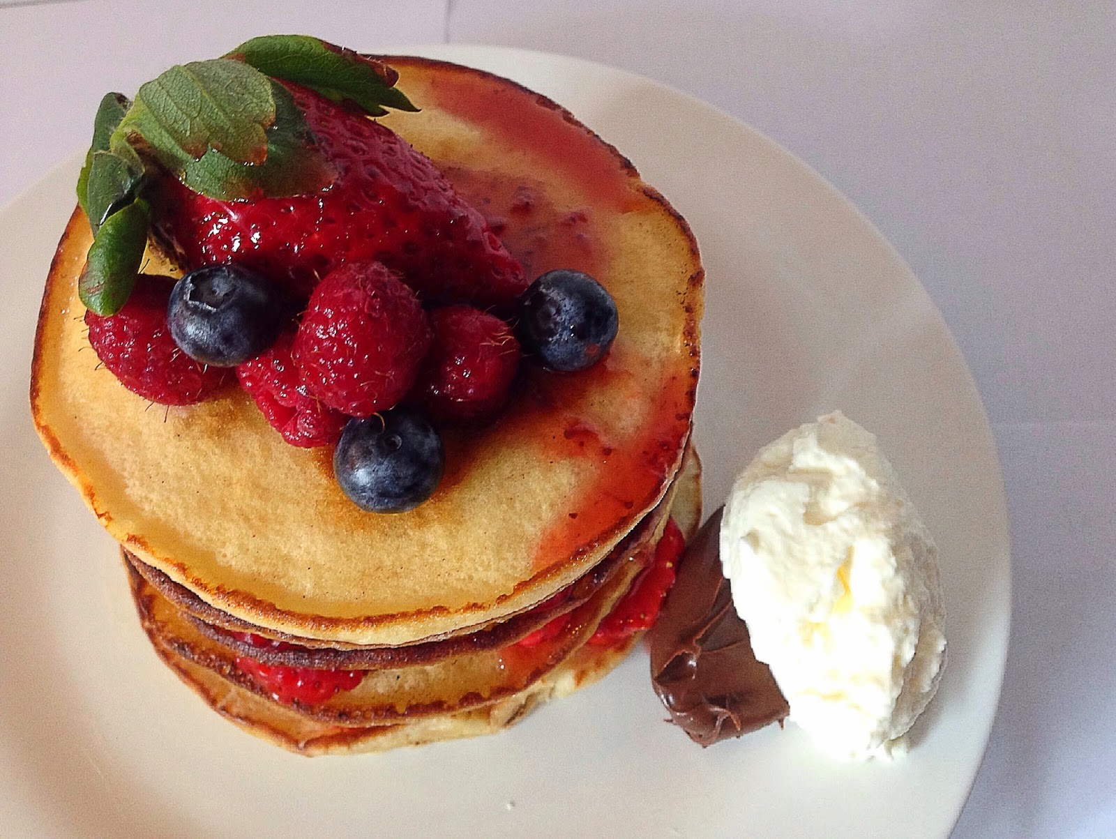 Baking is Love: fluffy hot pancake with berries, nutella ...