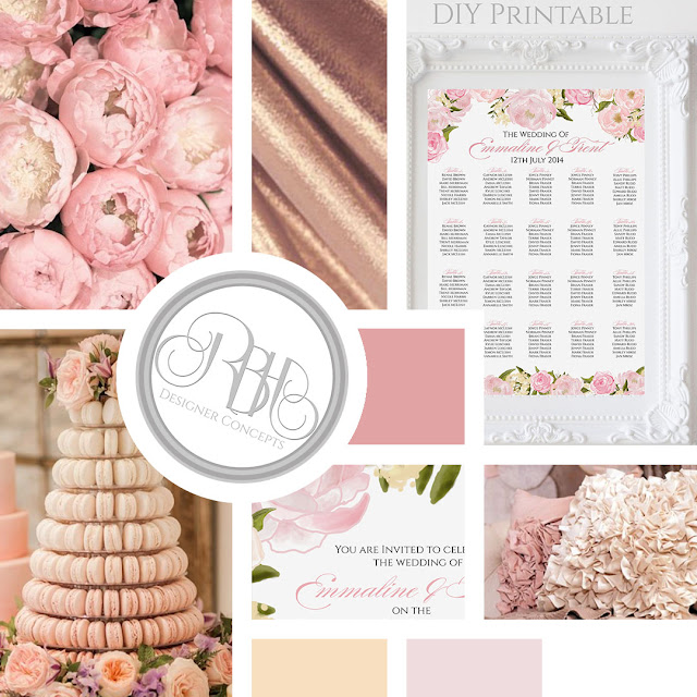 pink peonies wedding stationery mood board