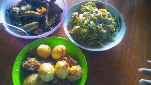 sayuran pare dijadikan lauk untuk makan nasi agar menghindari kolestero