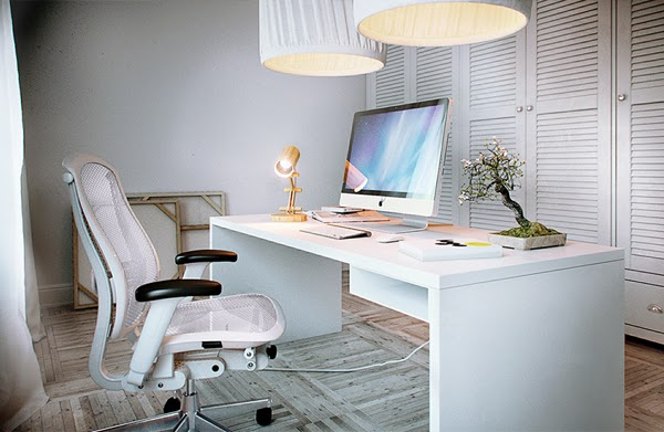 Oficina moderna en casa colores en casa for Imagenes de decoracion de oficinas pequenas