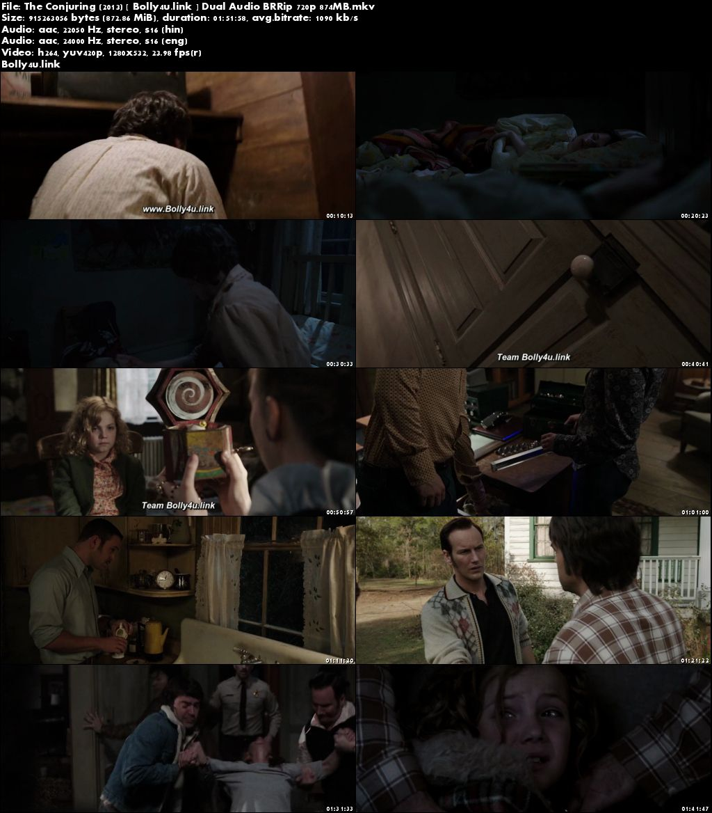 The Conjuring 2013 BRRip 850MB Hindi Dual Audio ORG 720p Download