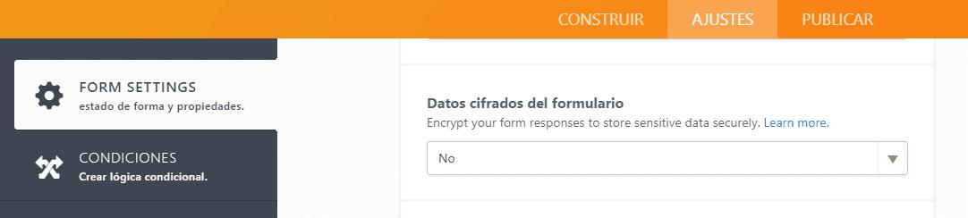 jotform formulario encriptado disable desactivar