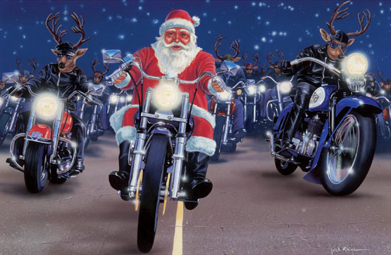 motoblogn santa rides a motorcycle christmas card collection. Black Bedroom Furniture Sets. Home Design Ideas
