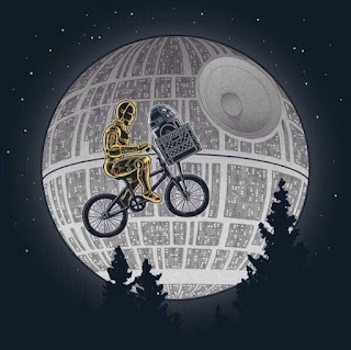 C3PO and R2-D2 as ET the Extra Terrestrial in front of the Death Star