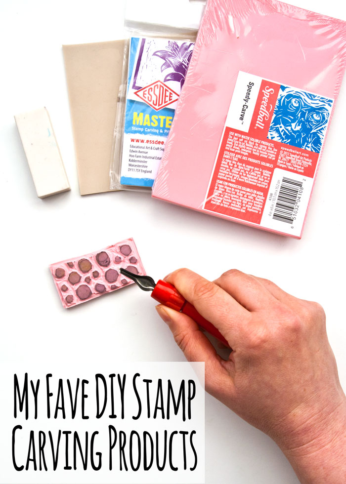 My favourite DIY stamp carving materials with a video by Kim Dellow