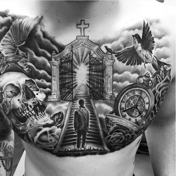 50 aneglic heaven tattoos ideas and designs 2018 for Stairway to heaven tattoo chest