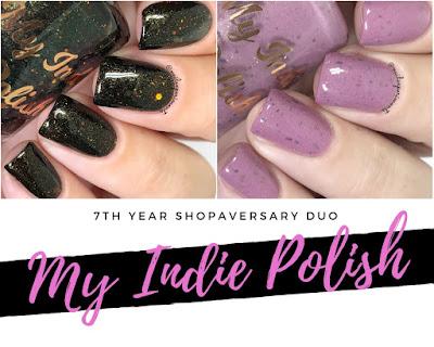 my indie polish 7th year shopaversary duo swatches