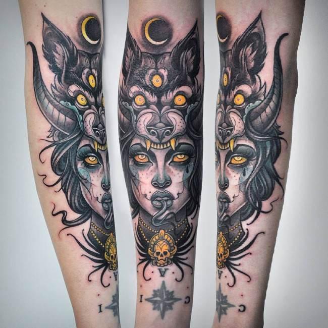 vemos un tatuaje neo-tradicional