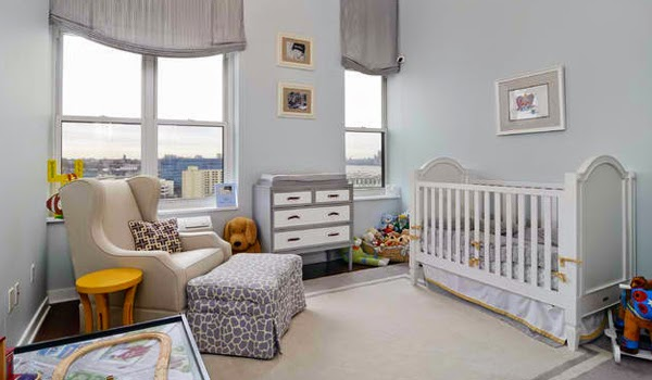 Cuartos de beb s en celeste y gris dormitorios colores y for Iluminacion habitacion bebe