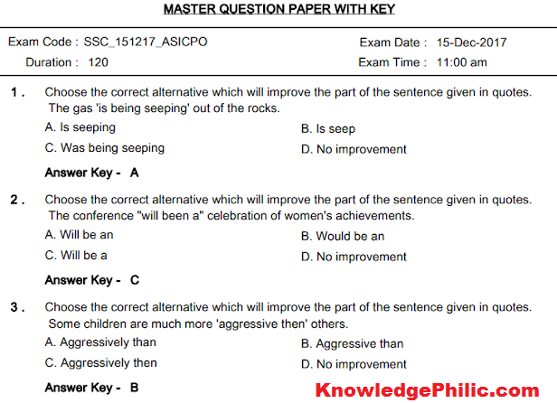 SSC CPO 2017 Paper-2 Question Paper Final Answer Keys PDF Download