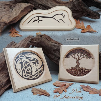 Pyrography wall plaques in sycamore from Justbod